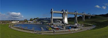 Panoramic view of the Falkirk Wheel and Aqueduct