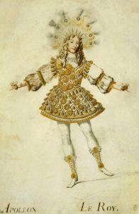 Louis XIV, roi de France, dans le costume d'Apollon du ballet des 'Noces de Thétis et Pélée', en 1654, par Henri de Gissey